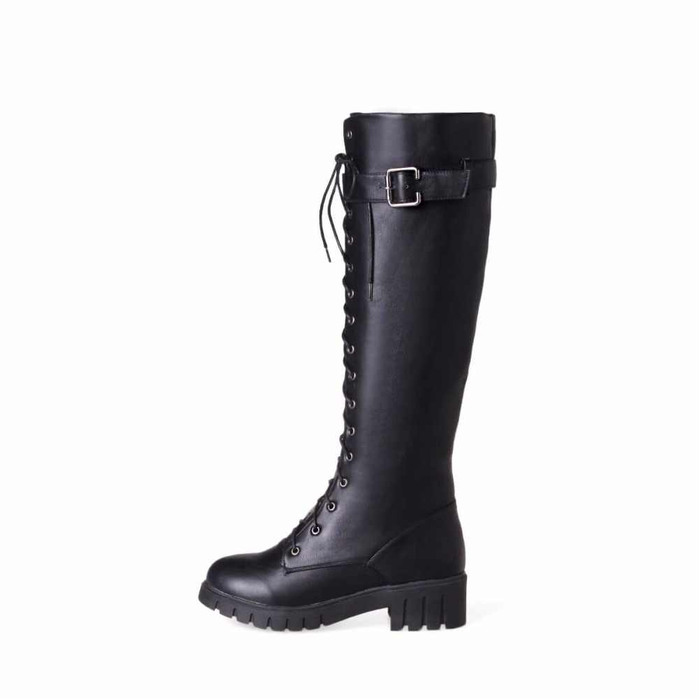 Women's Lace Up Knee High Boots Thick