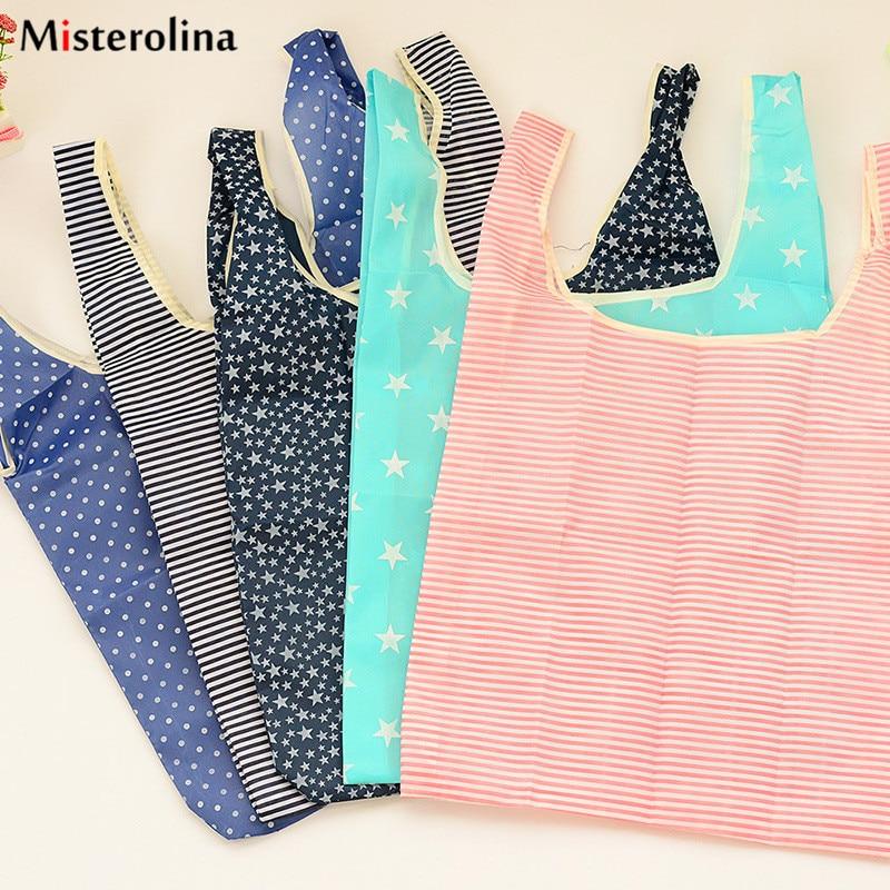 1 Pc Fashion Reusable Bag Unisex Ladies Men Grocery Star Dot Striped Tote Bags Surrounding Folding Bag L09956