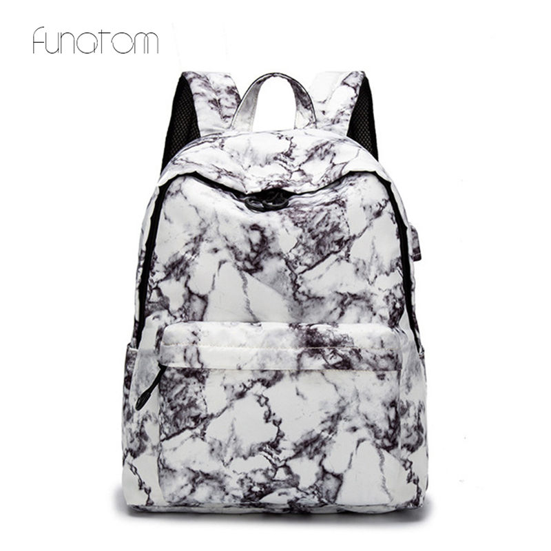 15.6 Inch Travel Marble Large Backpack Women USB School Backpack For Teenagers Girls Bags Female Rucksack Bag Set In Luggage