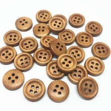 500 шт 12 мм коричневые деревянные пуговицы 4 отверстия швейная деревянная пуговица для скрапбукинга украшения для открыток