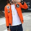 Promotional China Character Signature Patched Bomber Jacket  Men Zip Fly New Fashion 2017 Spring Autumn Baseball Jackets