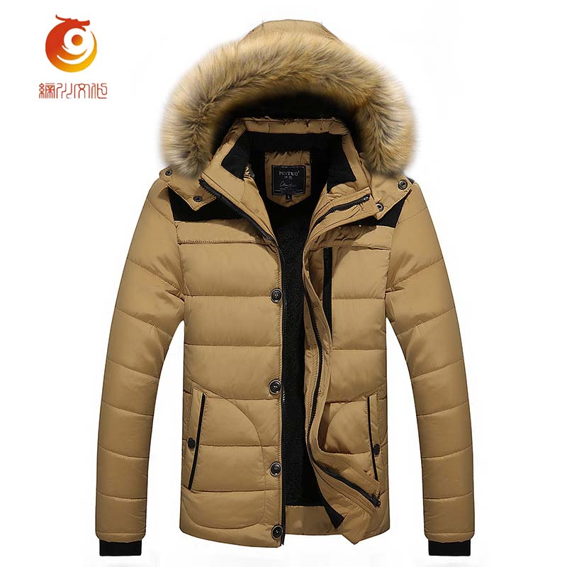 Autumn Winter Jacket Men Parkas Hooded Coat Male Casual Coats Quilted Wadded Padded Waistcoat Fashion Faux Fur Collar Size 4XL 2016 men of new style fashion male hooded embroidery cotton quilted jacket down jacket coat