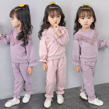 цены на Children Clothing 2018 Autumn Winter Girls Clothes 2pcs Set Fashion Outfit Kids Clothes Tracksuit Suit For Girls Clothing Sets  в интернет-магазинах