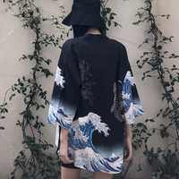 2019 Vintage été imprimé en mousseline de soie crème solaire Harajuku Kimono Cardigan vêtements d'extérieur Blouse Style japonais femmes vêtements