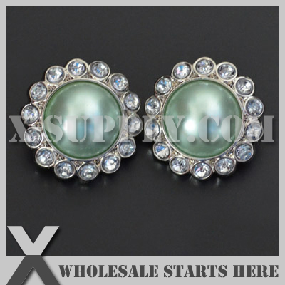 Color Option: RB1001BM #20~#37 / Free Shipping Plastic 20mm 23mm 26mm 30mm Acrylic Pearl Rhinestone Button with Shank