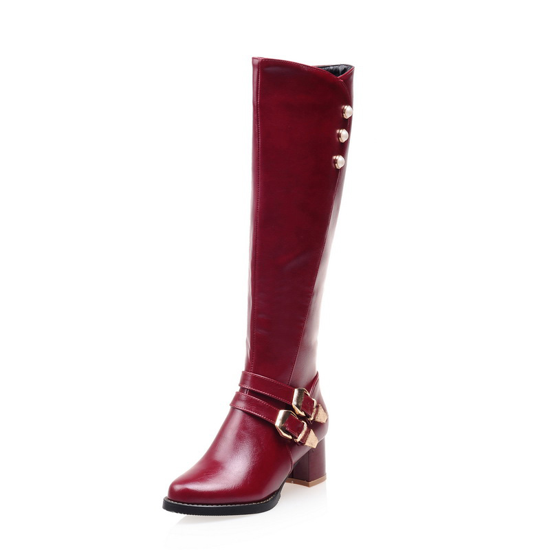 NEW Winter Women Shoes Long Knee High Boots Round Toe Big Size Med Square Heels Zipper Buckle Short Plush Warm Inside Fashion in Knee High Boots from Shoes