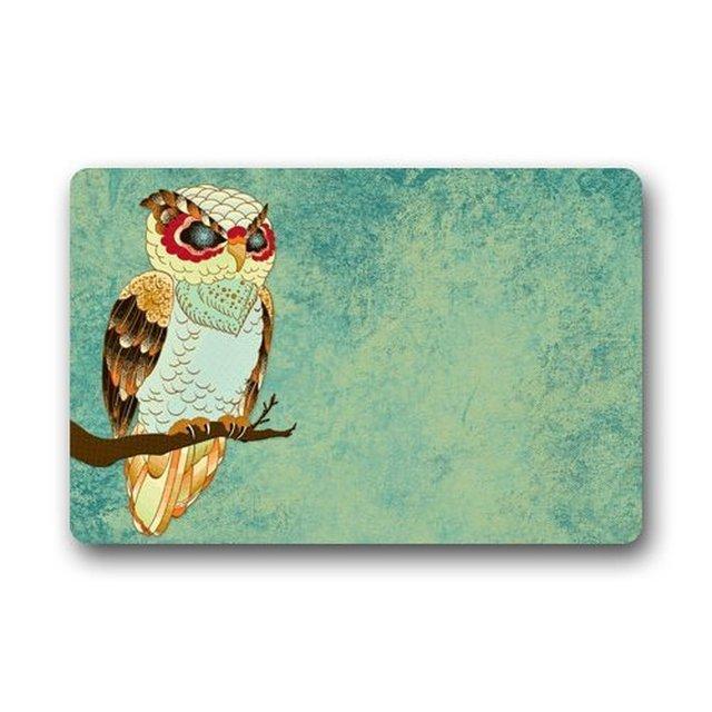 Memory Home Cute Owl Washable Doormat Non Slip Bath Kitchen Decor Area Rug Indoor