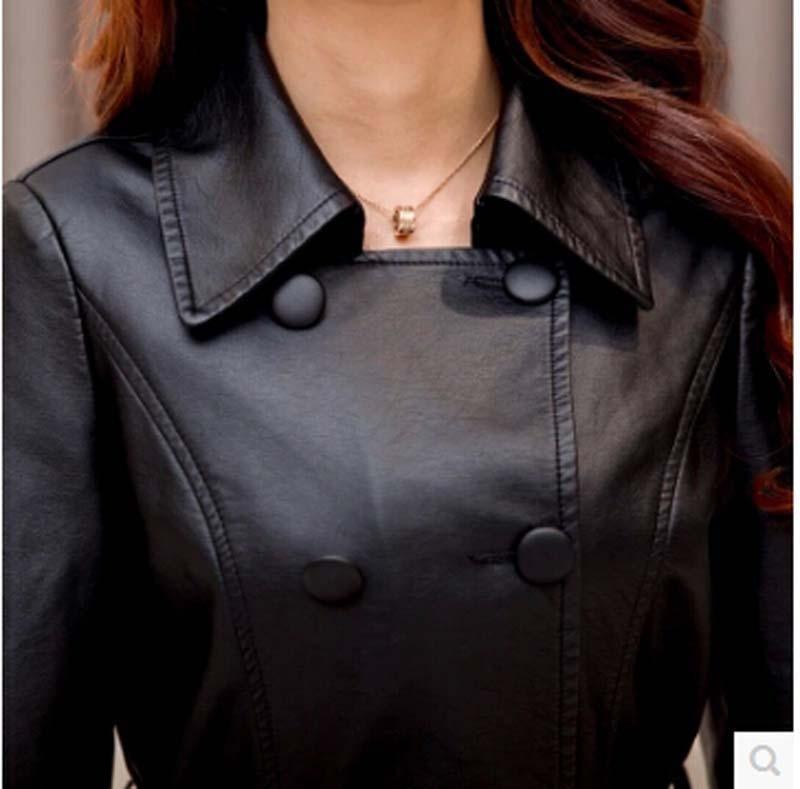 Plus Mode Tranchée Cuir De Veste Manteau Ae352 Hiver La Nouvelles Pu 5xl En Taille Marque Mince Longue Femmes 2016 Noir AxOT48qw