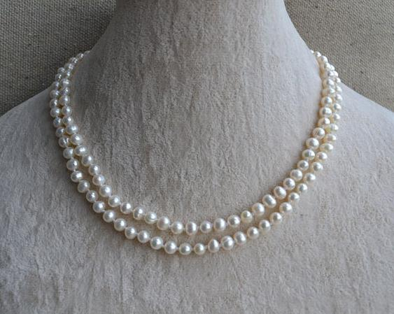 New jewelry 5rows gray leather necklace real white rice pearl pendant 17 inches