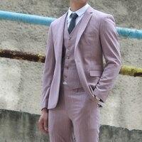 Новый британский ретро костюм мужские повседневные костюмы из трех предметов мужские свадебные платья корейский костюм куртки розовые дел