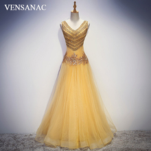 VENSANAC 2018 Crystal V Neck Sequined Long Evening Dresses Party A Line Lace Flowers Appliques Backless Prom Gowns