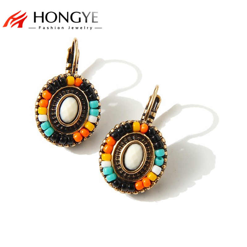 2018 New Bohemian Earrings For Women Wind Flower Earring Clip On Earrings Colorful Resin Beads Brincos