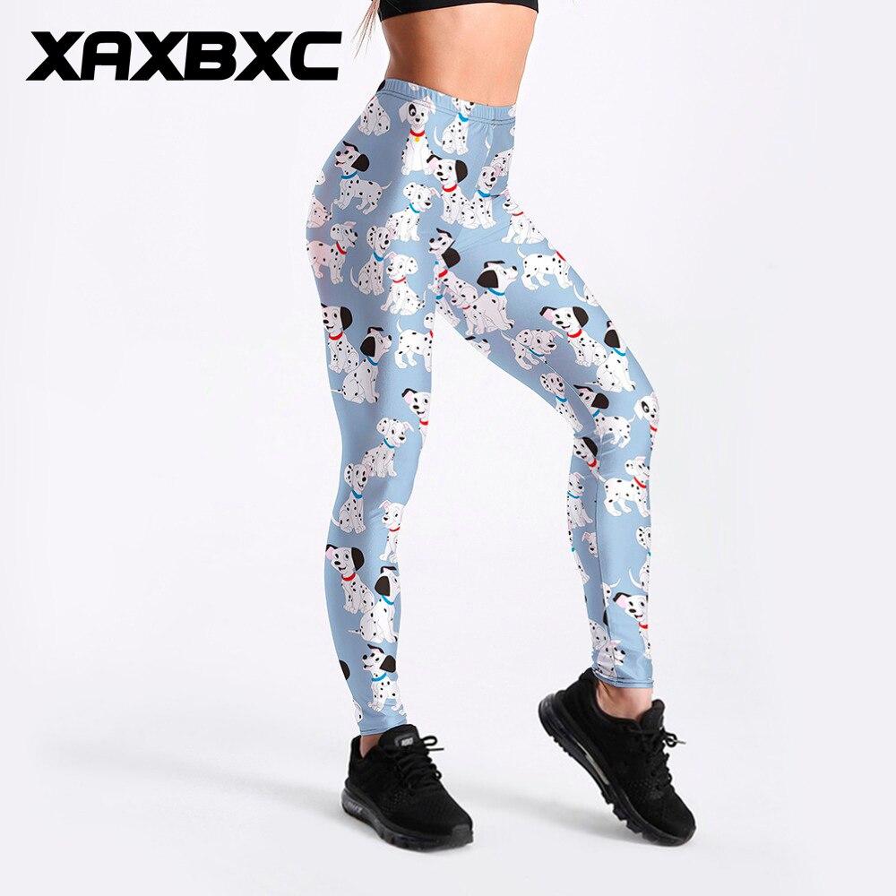 XAXBXC 3291 Sexy Girl Pant Cartoon 101 Dalmatian Toasties Puppy Prints Elastic Slim Fitness Workout Women Leggings Plus Size