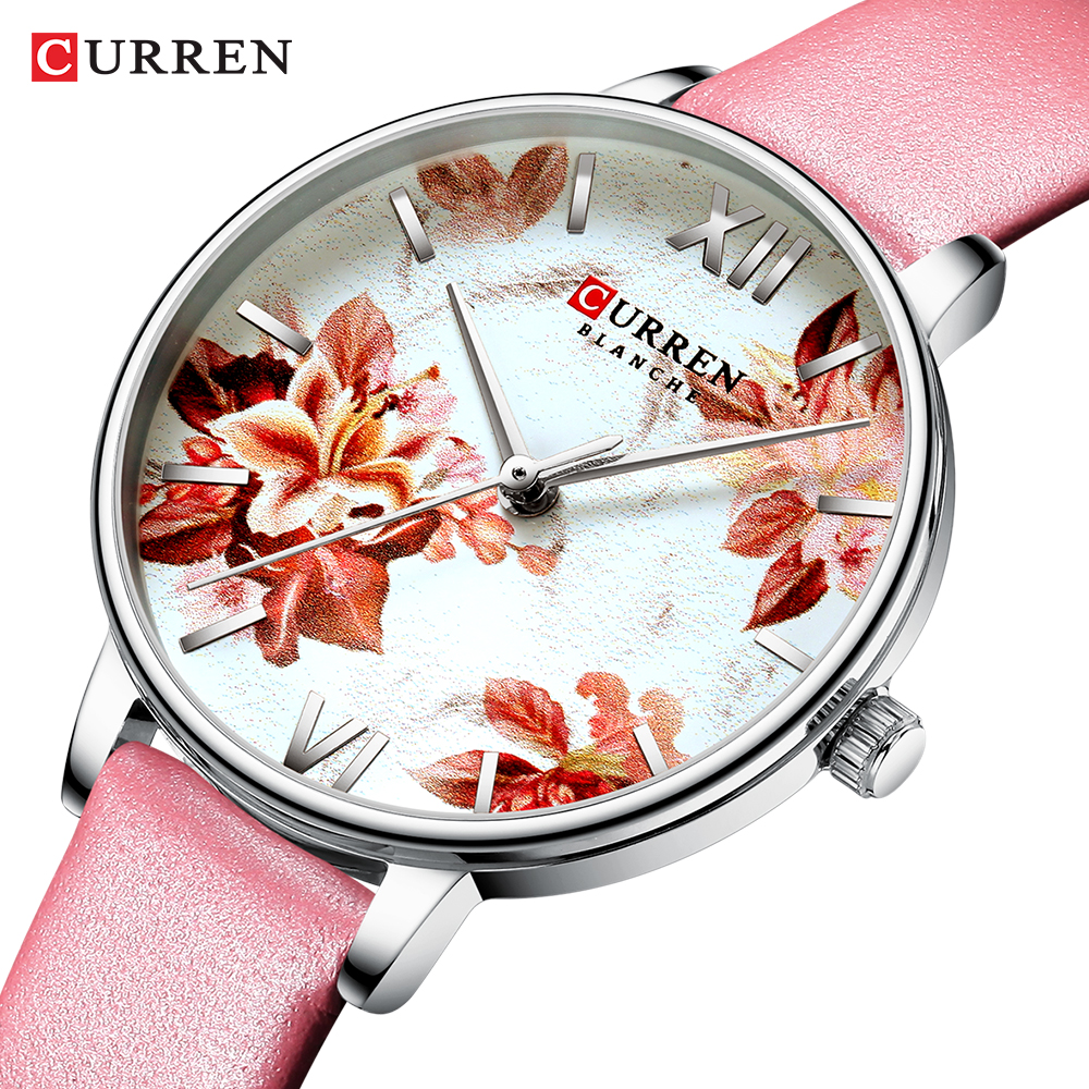 CURREN Leather Strap Watches Women's Quartz Watch Beautiful Pink Wristwatches Ladies Clock Female Fashion Design Charming Watch