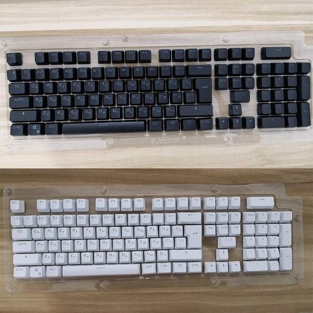 104 Keycaps รัสเซียโปร่งแสง Backlight Keycaps สำหรับ Cherry MX SWITCH คีย์บอร์ด Keycap