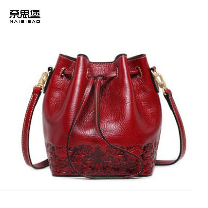 NASIBAO New Handbags Embossed Floral Top quality Cowhide genuine leather Style Ladies bucket bag leather shoulder Crossbody Bags 2017 new female genuine leather handbags first layer of cowhide fashion simple women shoulder messenger bags bucket bags