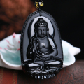 Natural obsidian buddha pendant male Women necklace animal buddha Bead curtain transhipped scrub buddha head pendant black
