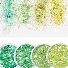 10g/box Green,Blue Nail Holographic Glitter Powder Vtirka Dust For Nails Art Chrome Pigment DIY Manicure 4Color
