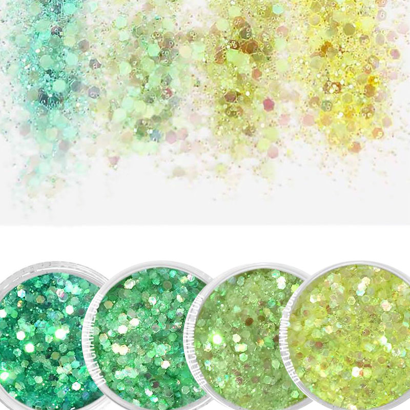 10g/box Green,Blue Nail Holographic Glitter Powder Vtirka Nail Glitter Dust For Nails Art Chrome Pigment DIY Manicure 4Color image