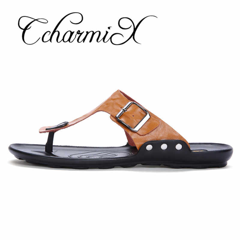 c8f1b65aa5b59b ... CcharmiX 2019 Summer Men Flip Flop Beach Mens Slippers Casual Office  Top Quality Leather Male Footwear ...