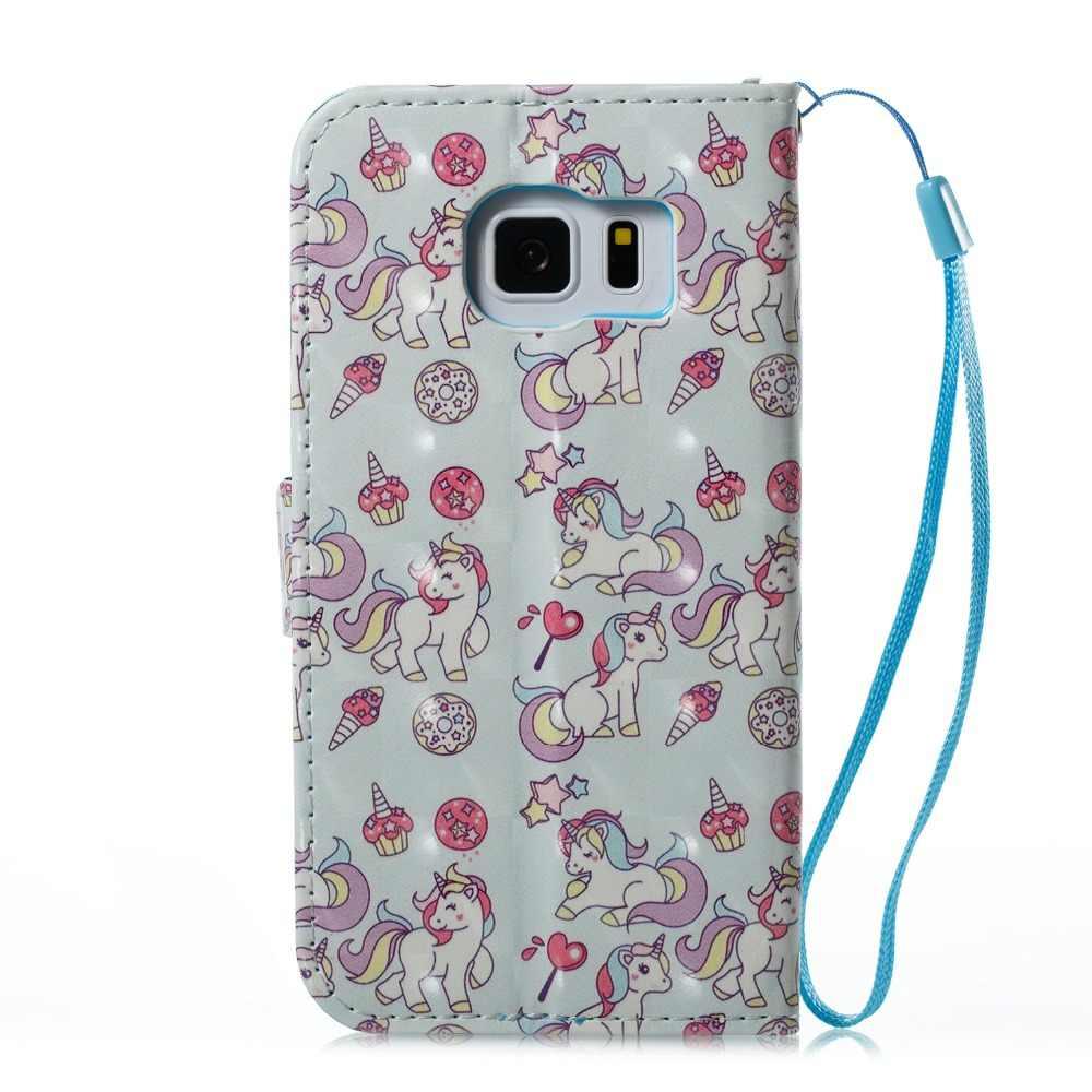 3dprinted Фламинго пони медведь Ловец бабочек откидной Чехол-кошелек с подставкой из искусственной кожи чехол для samsung Galaxy S7 край S8 S9 S9plus note8