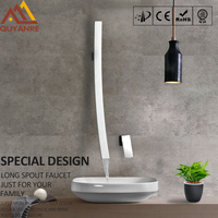 Quyanre Modern Chrome 27.5 inch Waterfall Spout Wall Mount Basin Faucet Single Handle Mixer Tap Concealed Bathroom Sink Torneira