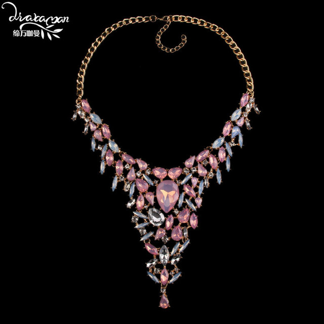 Dvacaman Brand 2016 Fashion Women Statement Wedding Jewelry Crystal Bib Pendant Necklace Luxury Choker Collar Maxi Necklace Q68