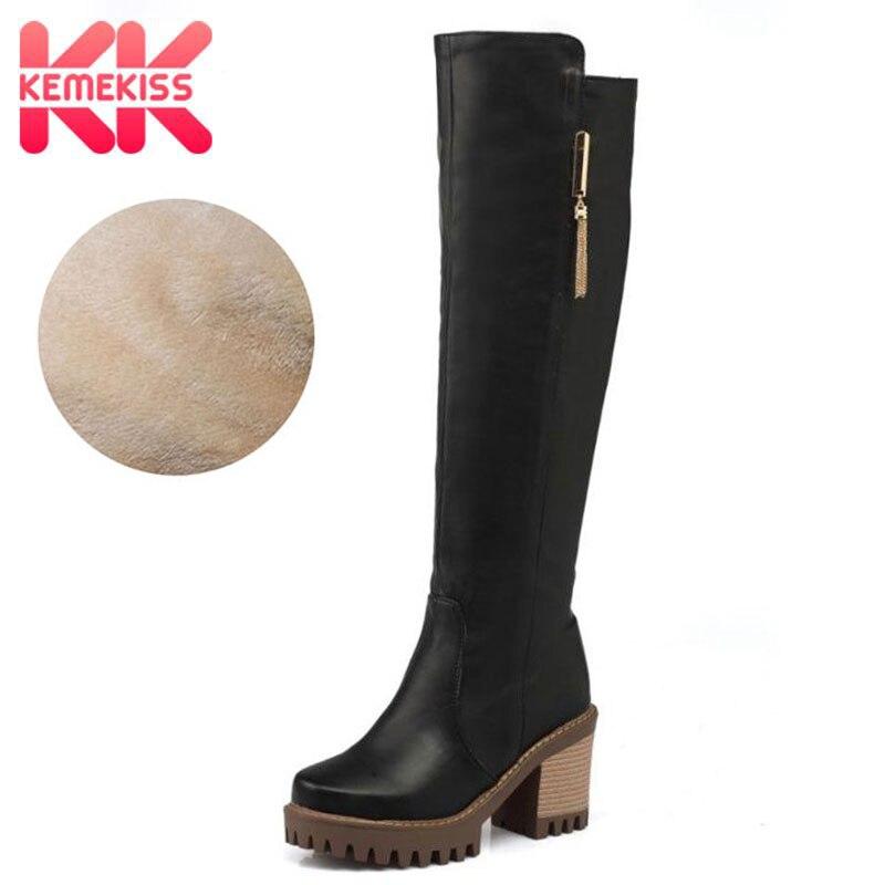 ddb9016088314 ... mujeres Plaza rodilla botas tacón Vintage cuadrado del dedo del pie de  la cremallera de Bota femenina mujer caliente zapatos de piel calzado talla  34 43 ...