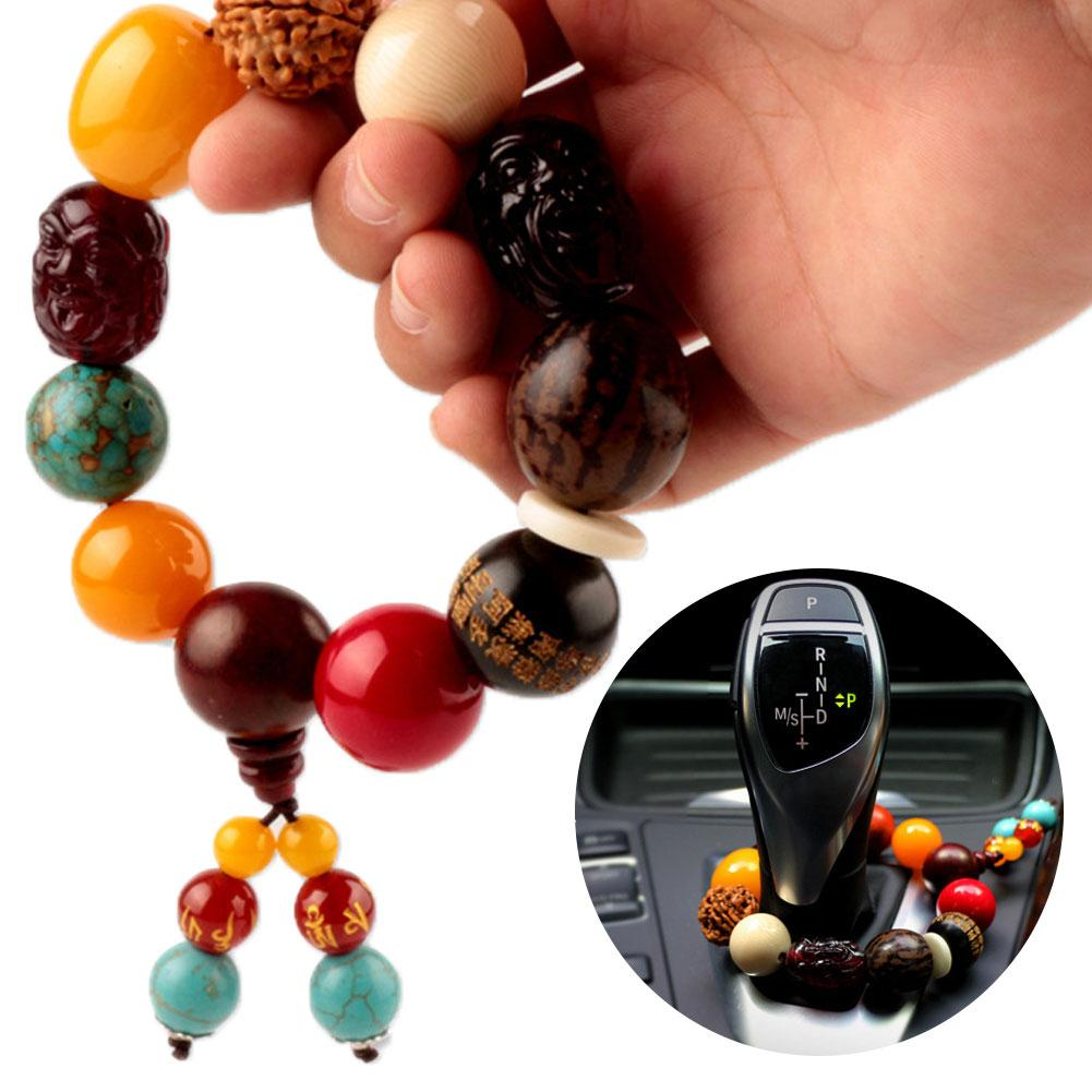 Car Gear Shift Wood Buddha Beads Bracelet Rearview Mirror Hanging Ornament Decor