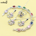 XUTAAYI 4PCS Top Quality 925 Silver Jewelry Sets For women Multicolor Stones AAA Zircon Wedding Necklace/Rings/Earrings/Bracelet