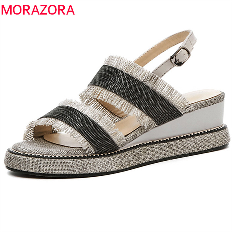 MORAZORA 2018 new arrival women sandals fashion mixed colors summer shoes simple buckle party wedding shoes wedges shoes woman xiaying smile summer woman sandals platform wedges heel women pumps buckle strap fashion mixed colors flock lady women shoes