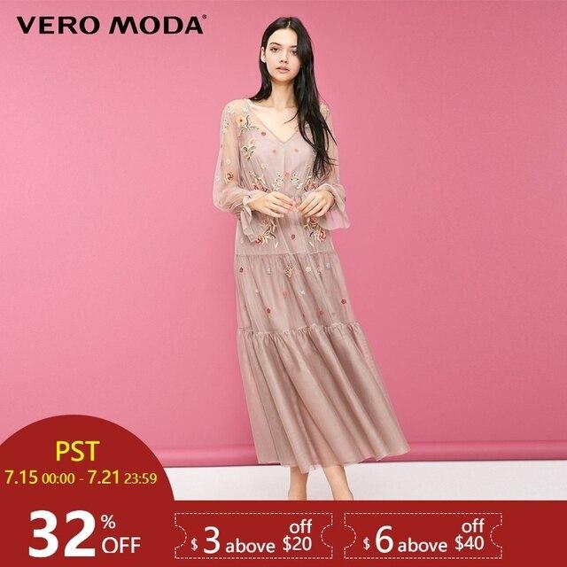 Vero Moda שני-חתיכה הדפסת שרוולים שמלת מקסי/ארוך שמלת 2019 | 31847D518