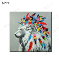 MYT Fashion African Lion 100% Hand Abstract Oil Paintings On Canvas 100% Handmade Colorful Canvas Art Modern Art for Home Wall