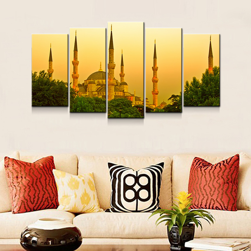 Us 8 64 46 Off Canvas Art Prints 5 Panel Home Decoration Wall Painting Set Istanbul Turkey Dusk View Decor Pictures Contemporary Houseroom In