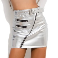 Hot Sexy Silver High Waist PU Leather Sashes Pencil Skirt Wetlook Zipper Punk DS DJ Clubwear Micro Mini Skirts Faldas Streetwear