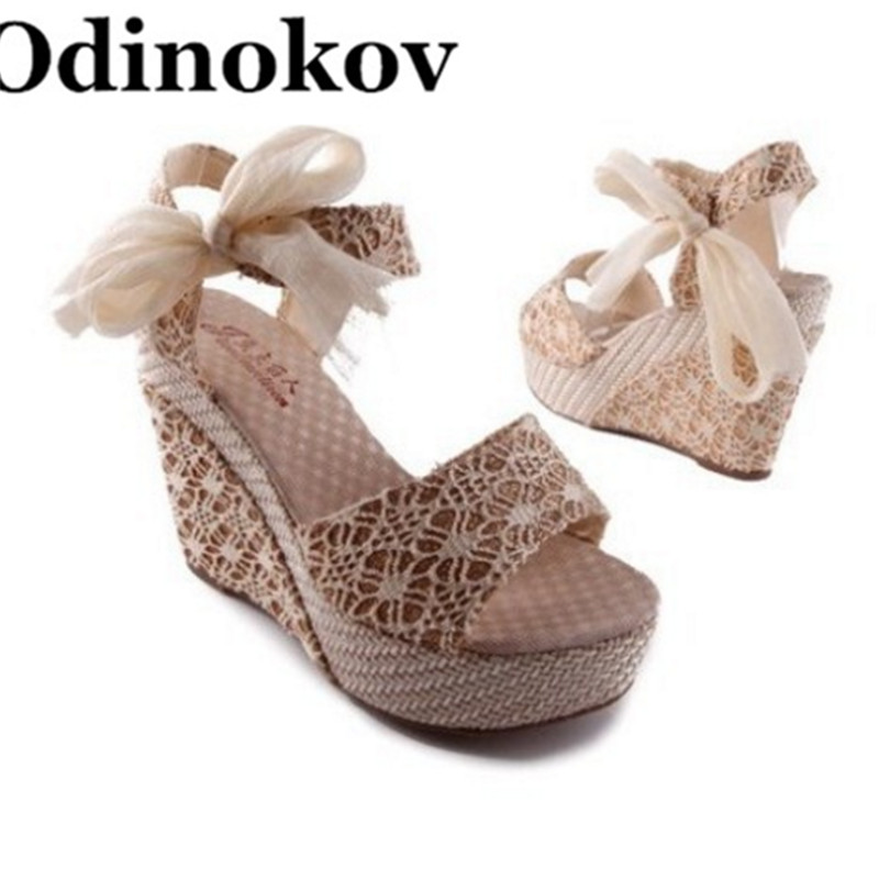 Odinokov Women Sandals Summer Wedges Women's Sandals Platform Lace Belt Bow Flip Flops Open Toe High-heeled Women Shoes Female ultra thin embossed uk flag pattern protective tpu back case for iphone 5 5s red blue