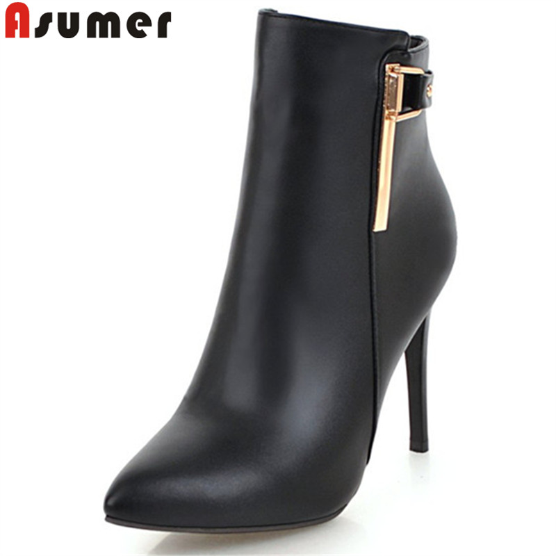 ASUMER black white fashion autumn winter boots pointed toe zip stiletto heels ankle boots prom high heels ankle boots for women