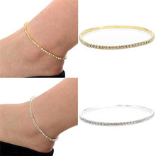 Fashion Shiny Clear Crystal Tennis Silver Gold Plated Stretch Anklet Foot Chain Bracelet Rhinestone Ankle Bracelet tornozeleira