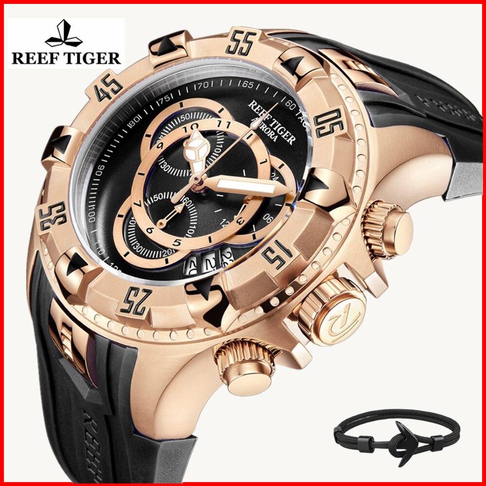 2019 New Design Reef Tiger Top Brand Luxury Men Sports Watch Waterproof Black Chronograph Military Watch