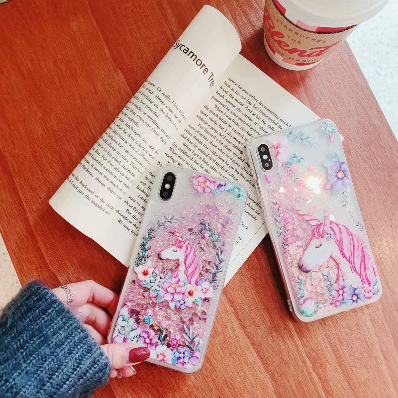 Quicksand Unicorn Liquid Case For Huawei P20 Lite P Smart Plus P8 Lite 2017 Honor 8X 7A 7C 6A 9 Lite Mate 20 Lite Y5 2018 Cover in Fitted Cases from Cellphones Telecommunications