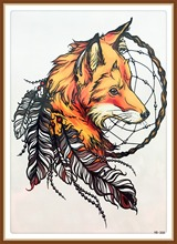 s 21 X 15 CM Yellow Fox And Feather Cool Beauty Tattoo Waterproof Hot Temporary Tattoo Stickers For Women Men