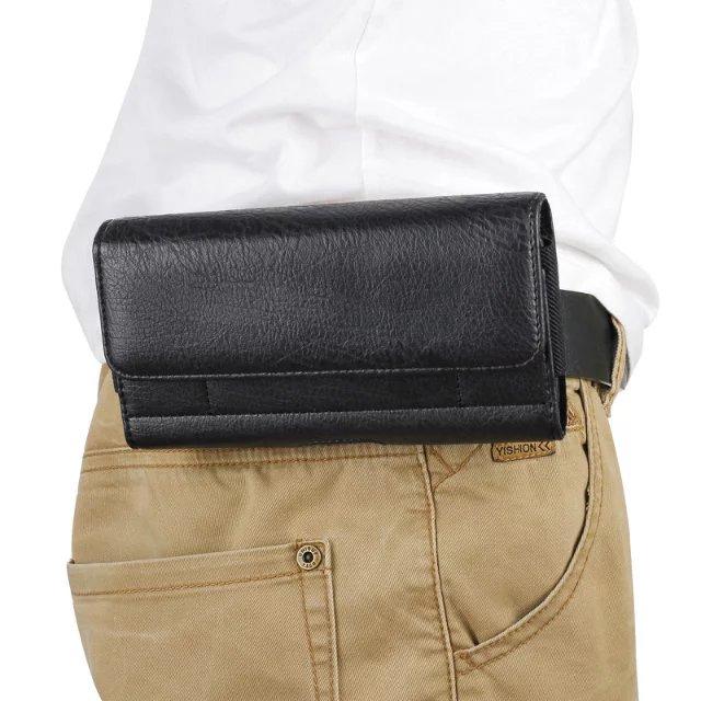 For Xiaomi Mi Max 2 Mi Max 3 Pro Redmi Note 7 Pro Stone pattern pu Leather Waist Bag Clip Belt Pouch Mobile Phone Holster Case