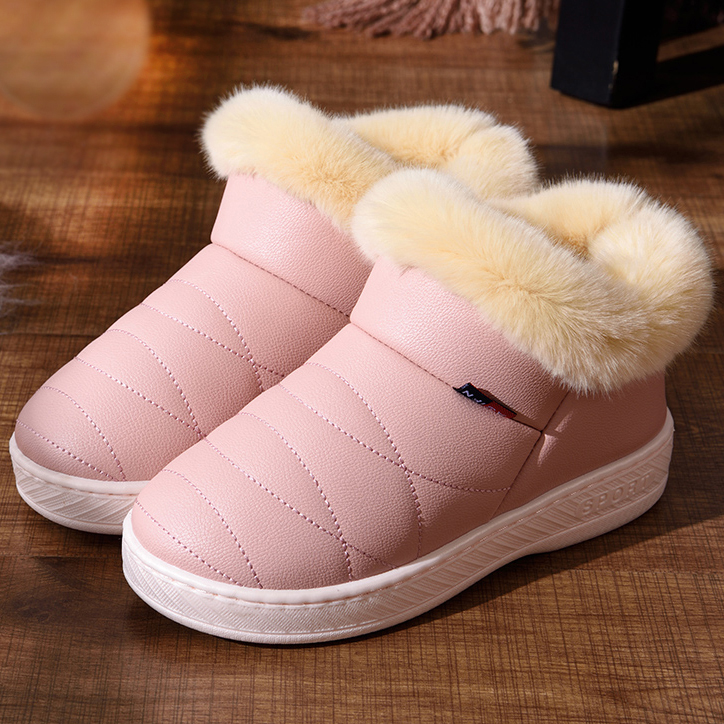купить women Winter Boots PU waterproof snow boots fashion Fur warm ankle Boots antiskid outdoor flat boots comfortable plus size ALF50 дешево