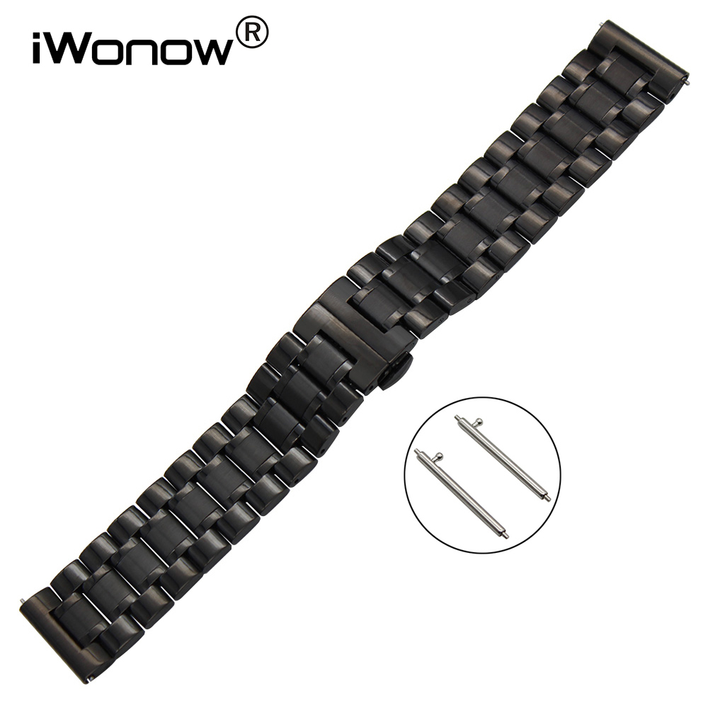 Stainless Steel Watchband 22mm for Samsung Gear S3 Classic Frontier Gear 2 Neo Live Watch Band Quick Release Wrist Strap Black black silver stainless steel buckle wrist watch straps for samsung gear s2 classic watchband with remover tool free