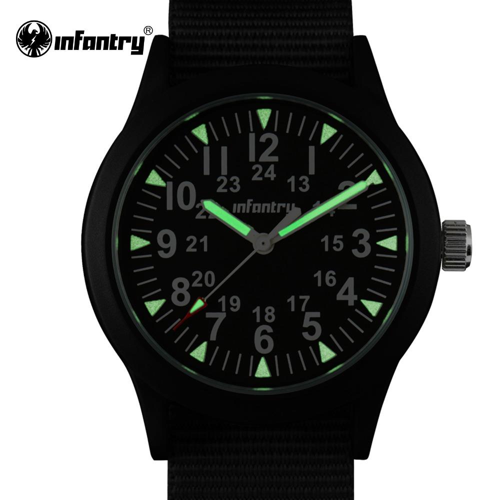 Prix pour Infantry mens montres armée tactique lumineux montres durable g10 nylon bracelet hattori japonais montres à quartz relojes horloge