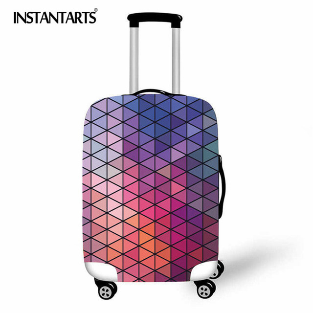 INSTANTARTS Geometric Travel Bag Cover Patchwork Suitcase Protective Cover Triangle Shape Luggage Case Protector Portable Travel