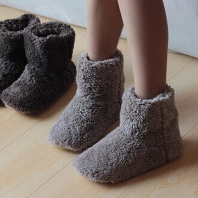 New Winter Warm Cotton-padded Shoes Skid Soft Bottom Indoor Home Shoes Warm Plush Indoor Boots For Men And Women Floors Shoes
