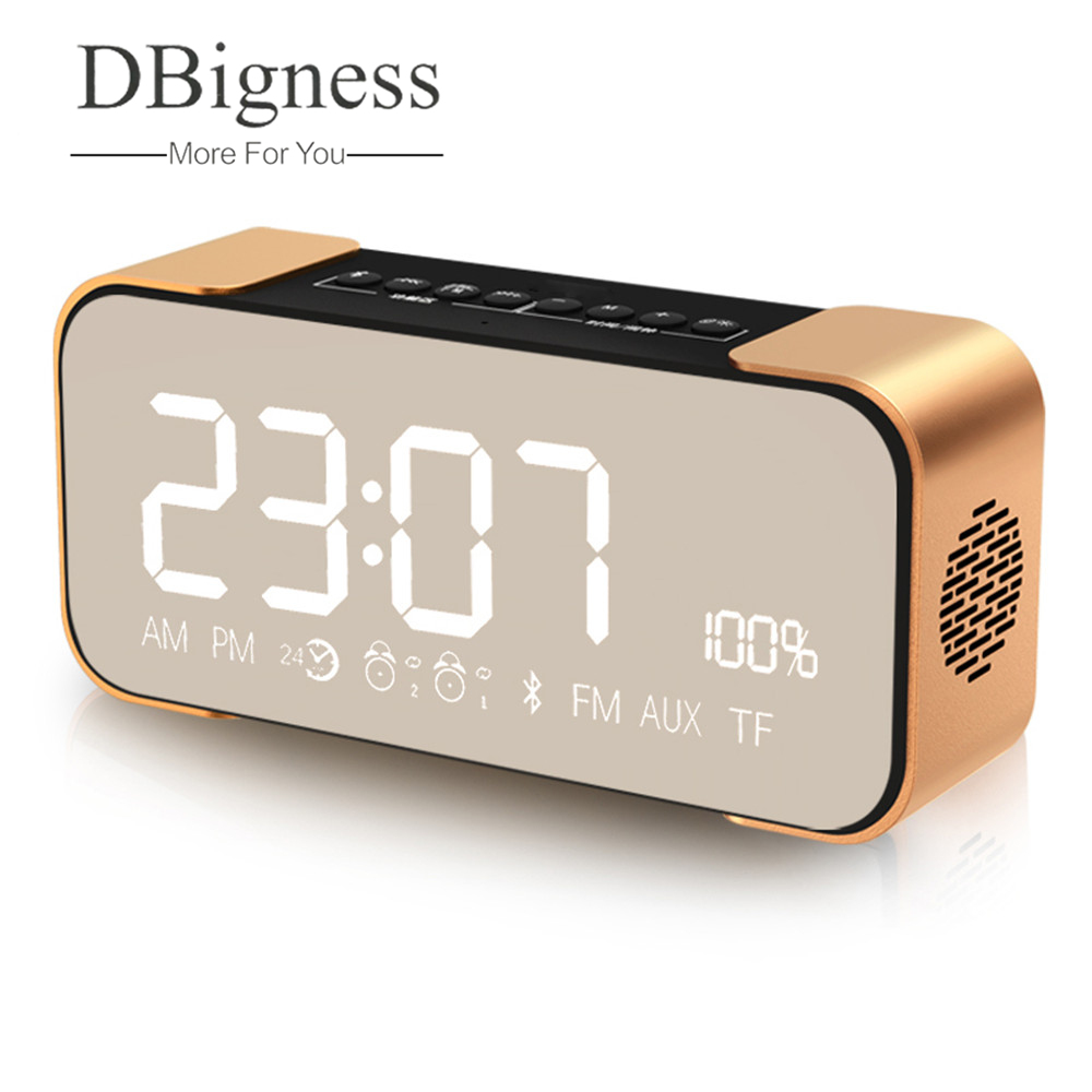 Dbigness Bluetooth Speaker Wireless Portable Bass Subwoofer 2500mAh for iPad iPhone Android Phones Alarm Clock FM Radio TF dbigness bluetooth speaker portable speaker wireless bass stereo subwoofer support tf aux boombox hd sound for phone samsung