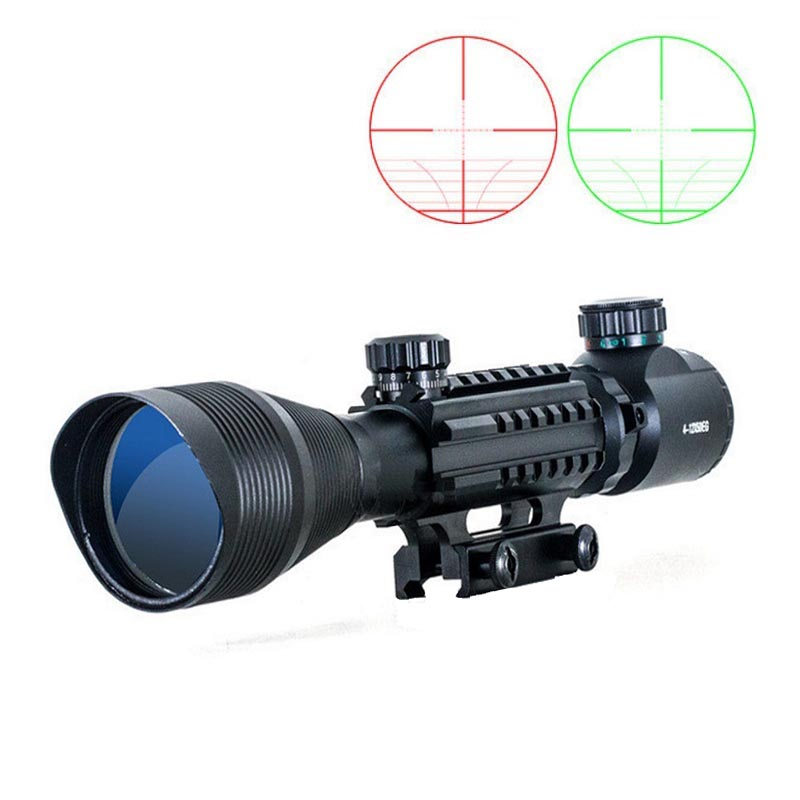 New C4-12X50 Tactical Optical Rifle Scope Red Green Dual illuminated w/ Side Rails & Mount Hunting Airsoft rifle airsoft c4 12x50 tactical optical rifle scope red green dual illuminated w side rails
