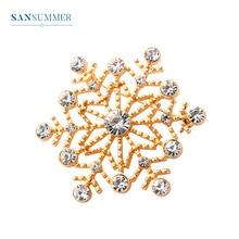 Sansummer New Hot Fashion Golden Snow Cubic Zirconia Pins Glittering Casual Elegant Coat Brooch For Women Jewelry